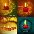 Happy diwali Beautiful four collection colorful rangoli diya fes