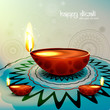 Diwali festival with beautiful diya colorful rangoli background