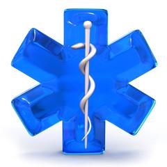 blue medical symbol isolated over white background