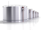 Oil storage tank on a white background