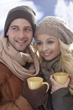 Closeup photo of loving couple at wintertime