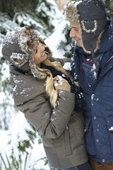 Loving couple at winter