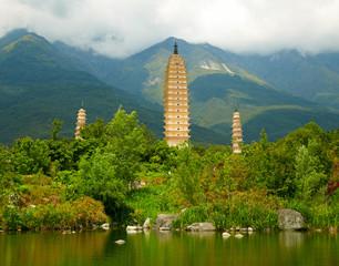 Three Pagodas in Dali. Yunnan province, China.