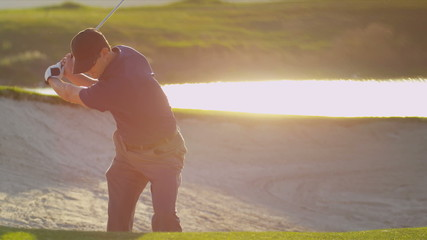 Professional Golfer Successful Shot Sand Bunker