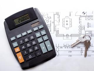 Baukosten - Taschenrechner mit Schlüssel