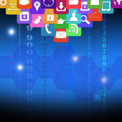 Colorful application icons,on technology concept background