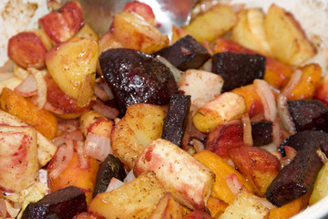 Meal with root vegetables