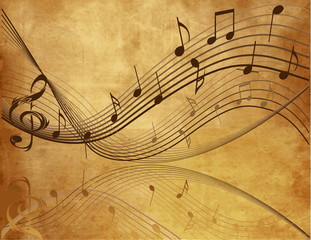 Vintage background with  Music  notes