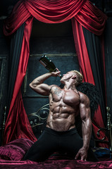Model with champagne,