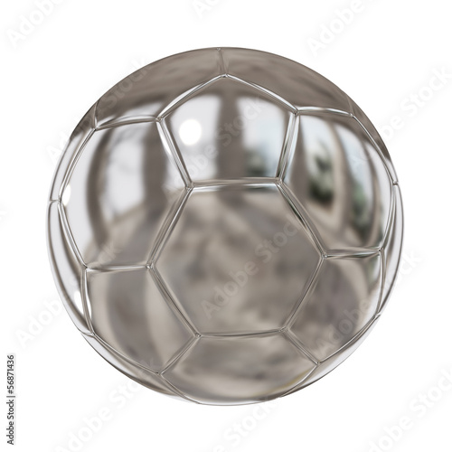 A reflection in metallic soccer ball.