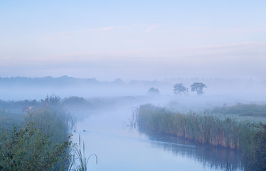 calm misty morning over river