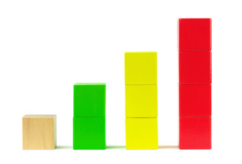 Colorful toy blocks on white background. Graph diagram
