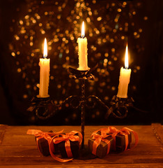 Candelabra with four Halloween gifts