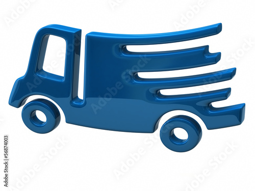 Blue illustration of fast delivery truck