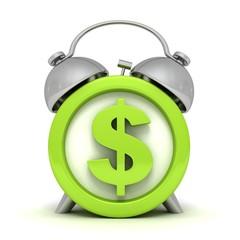 green alarm clock with dollar symbol on clockface
