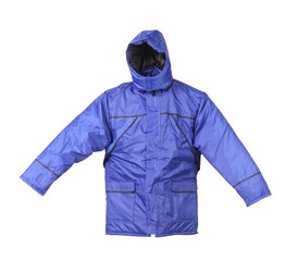 Blue working winter coat with hood.