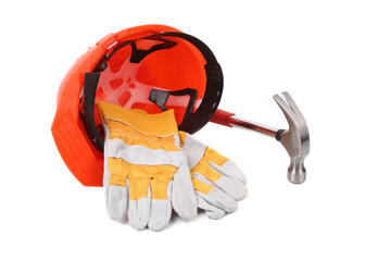 Hard head gloves and hammer.