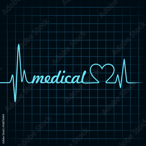 heartbeat make a medical text and heart symbol stock vector