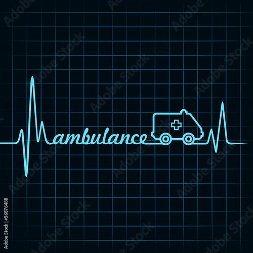heartbeat make a ambulance text and symbol stock vector