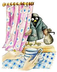 Cartoon Sparrow Robber hiding by curtain