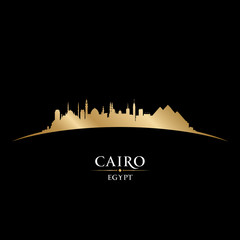 Cairo Egypt city skyline silhouette black background