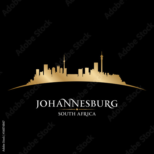 Johannesburg South Africa city skyline silhouette black backgrou