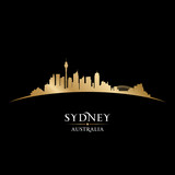 Sydney Australia city skyline silhouette black background
