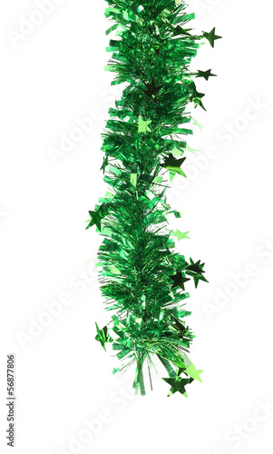 Christmas green tinsel with stars.