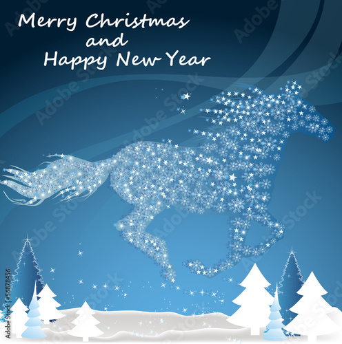 Horse. Happy new year and Merry Christmas 2014