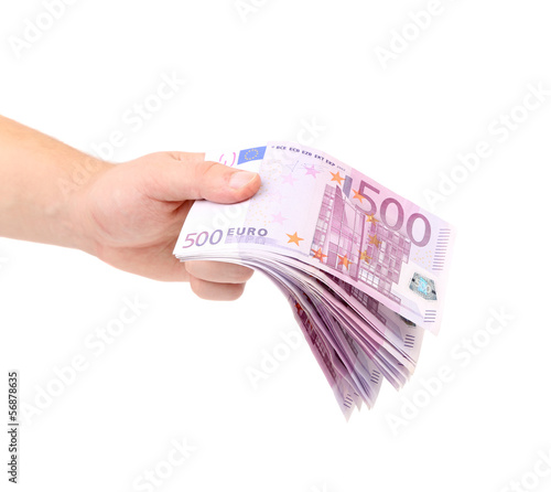 Man hand holding five hundred euro bills.