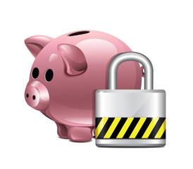 Vector Piggy Moneybox With Padlock