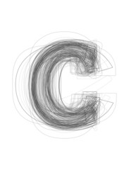 "Sketchy alphabet lowercase letter ""c"""