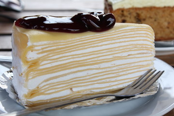 Blueberry crape cake