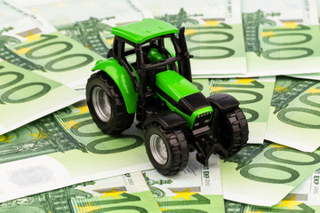 tractor on euro banknotes