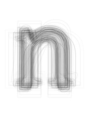"Sketchy alphabet lowercase letter ""n"""