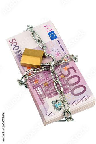 euro banknotes with chain and padlock