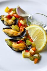 Moule, fruits de mer, crustacés, coquillage, frais, marée