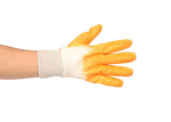 Rubber protective yellow glove.