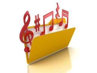 3d music notes in Folder