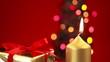Hand lighting christmas candle with gift and tree
