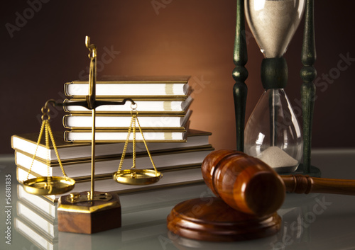 Wooden gavel and book, Legal hourglass
