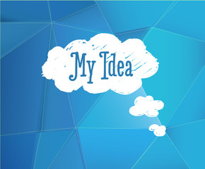 Blue background with my idea cloud.