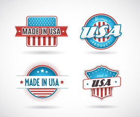Set of four Made in USA labels.