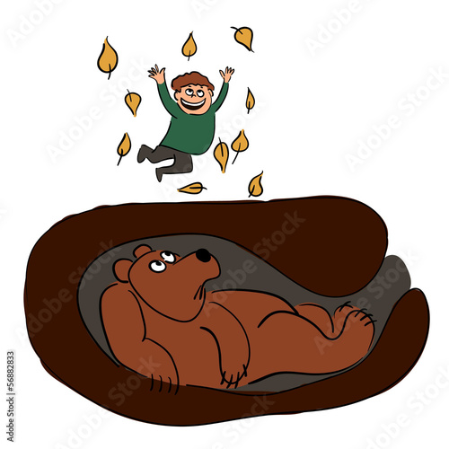 Jumping boy and sleeping bear