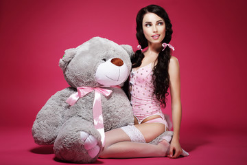 Sentiment. Valentine. Woman with Soft Toy Sitting. Sensuality