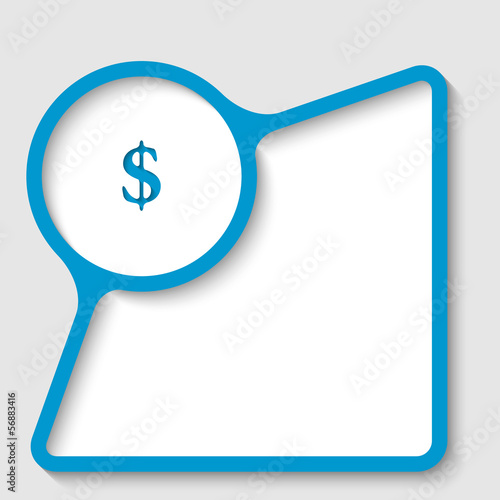 blue text frame with dollar sign
