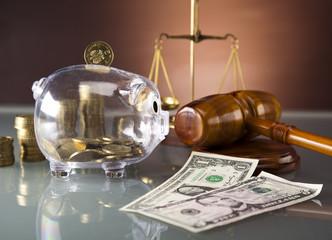 Dollar money,coins, Golden scales of justice, gavel, piggybank