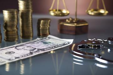Law gavel and dollar money