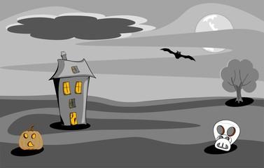 halloween night scene spooky house