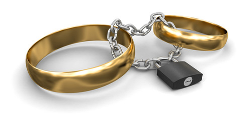 Connected rings and lock (clipping path included)